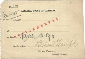 c.1890 AUTOGRAPH of RICHARD TEMPLE British OPERA SINGER/ACTOR/GILBERT & SULLIVAN