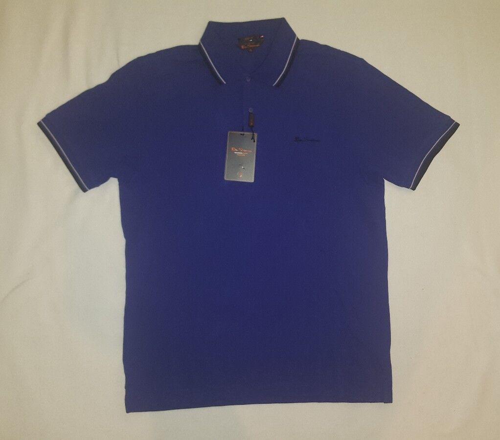 Men's Ben Sherman The Original Easy Fit Tipped Pique Polo Shirt Purple 407650 XL