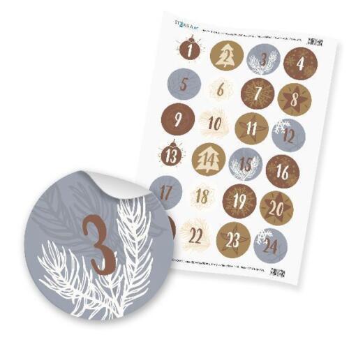 Itenga Chiffres Sticker Z 15 Adventskalender chiffres 1-24 Classique Argent Or Sons
