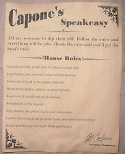 Al Capone's Speakeasy House Rules Poster, bar, gin joint, speak easy