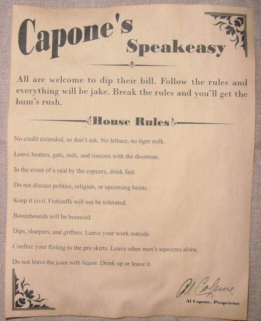 speak easy bar Al Capone/'s Speakeasy House Rules v2 Poster 11 x 17 gin joint