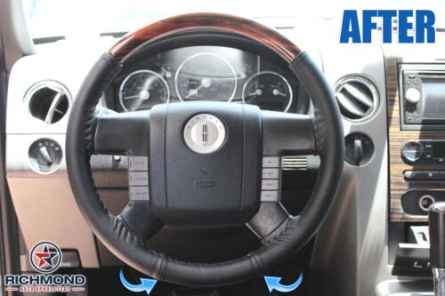 Tan Leather Steering Wheel Cover w//Needle /& Thread 2007 2008 Lincoln Mark LT