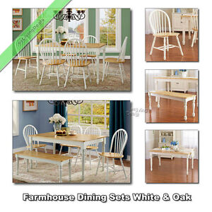 Swell Details About Farmhouse Dining Table Set Tables Chairs Benches Country Room Kitchen White Oak Andrewgaddart Wooden Chair Designs For Living Room Andrewgaddartcom