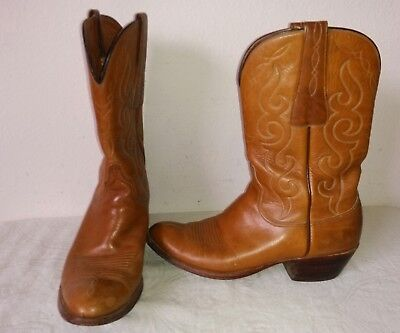 Lucchese Vtg Men S Tan Light Brown All Leather Cowboy Western Boots Size 11 B Ebay