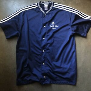 Details about Mens Vintage 90s adidas Navy Blue White Button Up Basketball Warm Up Shirt Sz XL