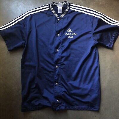 Mens Vintage 90s adidas Navy Blue White Button Up Basketball Warm Up Shirt Sz XL | eBay