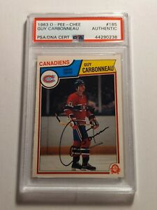 1983-84-O-PEE-CHEE-GUY-CARBONNEAU-Rookie-Card-PSA-DNA-authenticated-Auto-MINT