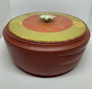 Avon-Vintage-Persian-Wood-Beauty-Dust-Container-Empty-Red