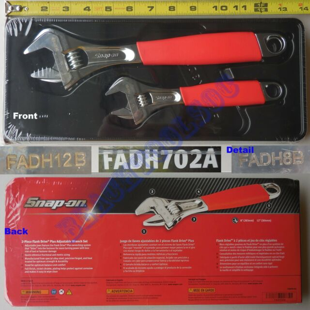 New Snap On Red Soft Grip FLANK DRIVE Plus Adjustable Wrench 2 Pcs Set  FADH702A