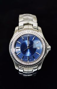 2278c4501765b Image is loading Tag-Heuer-Factory-Diamond-Bezel-Stainless-Steel-Link-