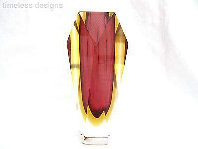 Rare 20th Century Murano Sommerso Space Age Block Art Glass Faceted Vase