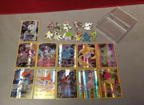 Pokemon TCG Mythical Collection Complete Pins Cards 20th Anniversary Good-NM