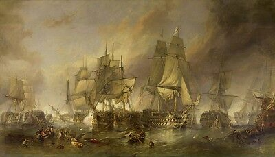 Battle of Trafalgar Naval Seascape by Clarkson Stanfield Canvas Print Picture