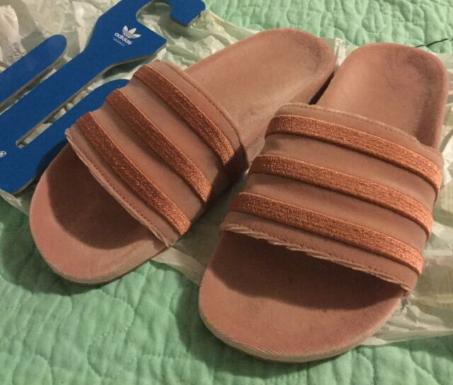 best authentic 66f6e 01683 adidas Originals Adilette Velvet Slides Sandals DB0159 Raw Pink Womens Size  7