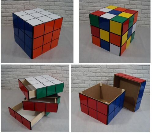 "RUBIK'S CUBE 50cm 20"" storage unit, BOX, cabinet drawers, TOYS, coffee table"