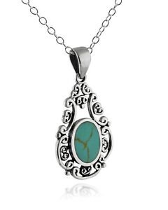 Filigree-Synthetic-Turquoise-Necklace-925-Sterling-Silver-Pendant-Oval-NEW