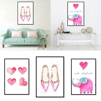 NORDIC CARTOON CANVAS PAINTING WALL ART PICTURE KIDS BEDROOM HOME DECOR STRI FJ