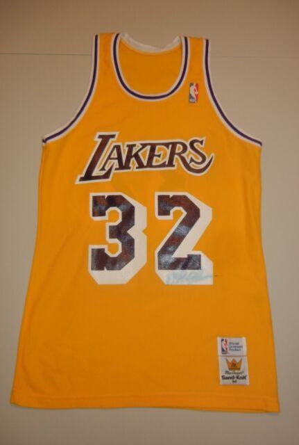 a0c06a957f9 MAGIC JOHNSON Sand Knit Los Angeles Lakers LA Yellow Jersey Medium NBA  SIGNED