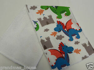 1 Only Towelling Back GREAT GIFT IDEA!! Dragons and Castles Burp Cloth