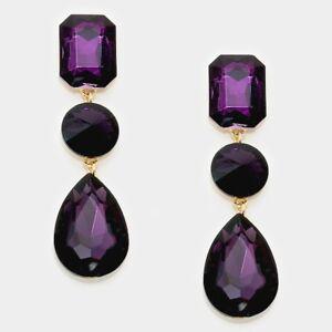 e5c089be1 Image is loading Rhinestone-Earrings-Long-Shaped-Teardrop-Crystal-PURPLE -034-