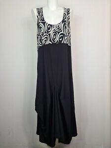 Master & Margarita Geometric Swirl Black & White Midi Smock Dress Women's Sz 12