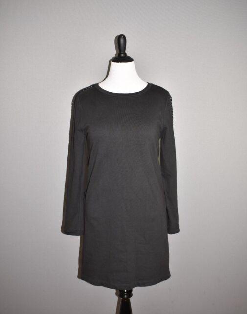 ANN TAYLOR LOFT $69 Black Long Sleeve Shift Dress Eyelet Detail Large