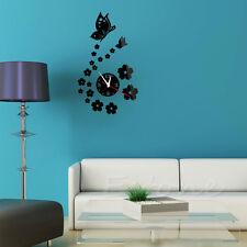 Modern 3D DIY Butterfly Flower Sticker Home Living Room Decor Mirror Wall Clock