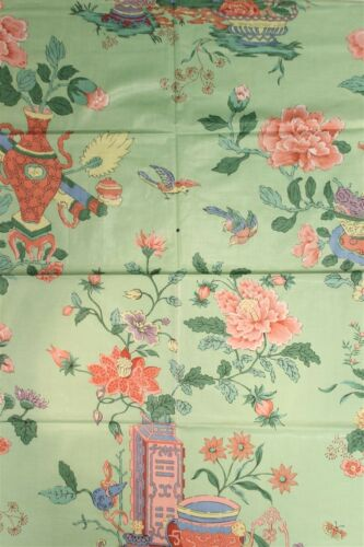 """Chinoiserie Celedon Green Glazed Chintz Fabric w Flowers in Vases"""