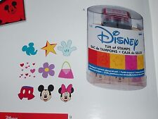 Disney 9 wood mount stamps with ink pad for scrapbook Mickey Minnie PLAID