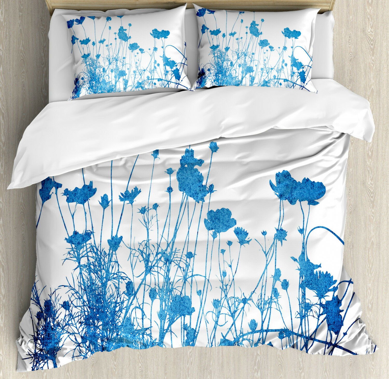 blu bianca Duvet Cover Set with Pillow Shams Wildflowers Blooms Print