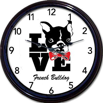 """French Bulldog Dog Wall Clock Love Frenchie Dogs custom personalize New 10/"""""""