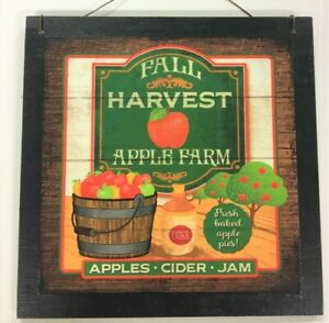 Details about Fall harvest Apple Farm fresh baked cider jam country wooden  fruit theme sign
