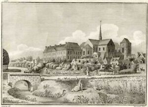 View-of-the-Priory-of-Long-Pont-Millin-Engraving-Antique-Original-18th