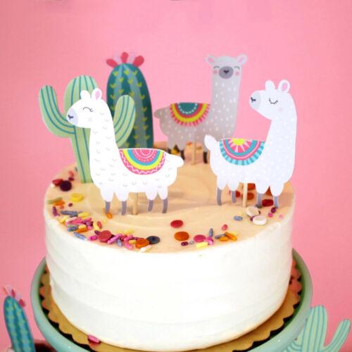 5Alpaka Kaktus Kuchen Topper niedlich Alpaka Geburtstagsparty Dekoration BC