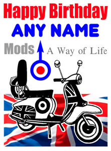 Image Is Loading PERSONALISED MODS SCOOTER RETRO DESIGN BIRTHDAY CARD FREE