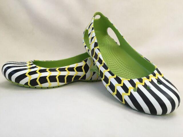 389e071578a0 CROCS Women s Flats Shoes Kadee Mondo Chevron Relaxed Flat Volt Green NEW  SIZE 6