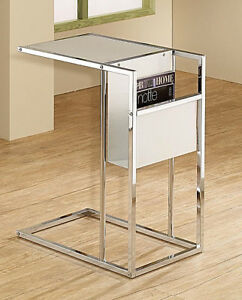 Chrome-and-White-Glass-Chairside-Accent-Table-with-a-built-in-side-Magazine-Rack