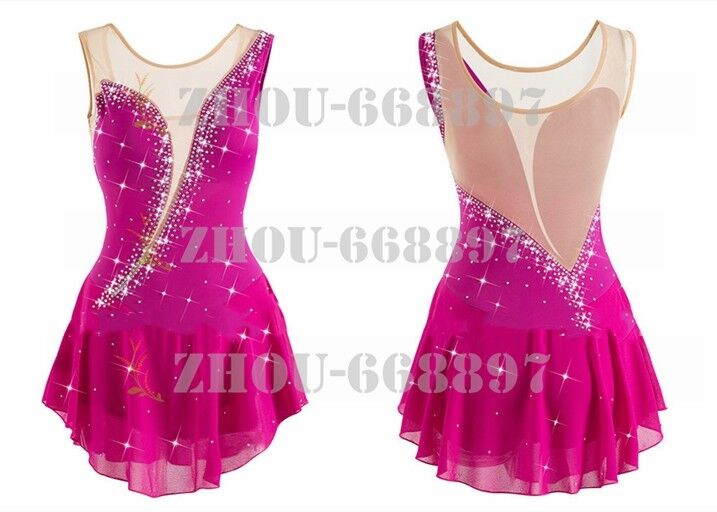 Ice skating dress Competition Figure Skating Classic Costume dance pink handmade
