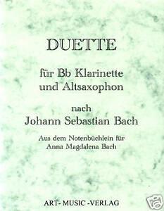 DUETTE KLARINETTE & ALT-SAXOPHON > J.S. BACH ( NOTEN )