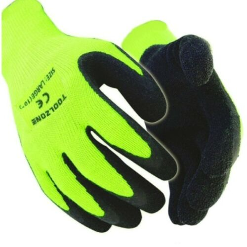 24 PAIRS WARM WINTER BUILDERS LATEX RUBBER WORK GLOVES GARDENING HI VIZ THERMAL