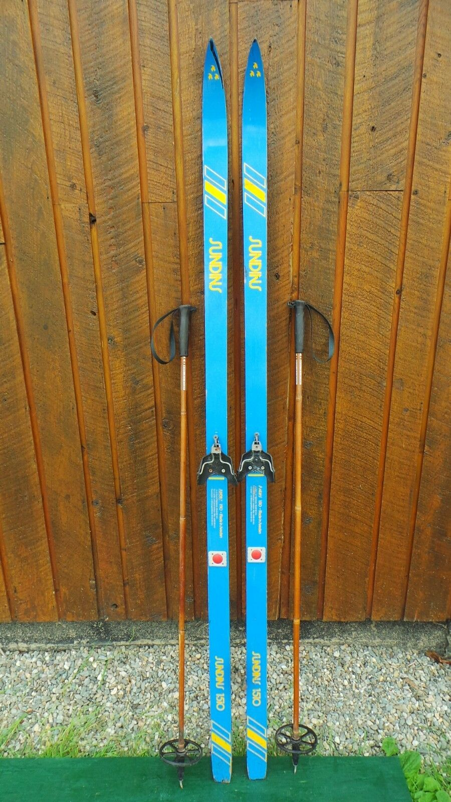 Vintage Wooden Skis 74  Long with Original blueE and YELLOW Finish and Bindings