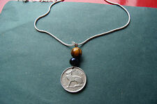"1942 IRISH CELTIC Harp & Rabbit w TIGERS EYE Pendant  30"" 925 Silver Snake Chain"