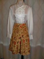 J.jill Copper Print Lined Loose Pleats Aling Skirt 12 Classic