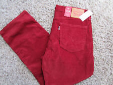 NEW LEVIS 514 STRAIGHT JEANS MENS 31X32 RED CORDUROY PANTS JEANS 005140820