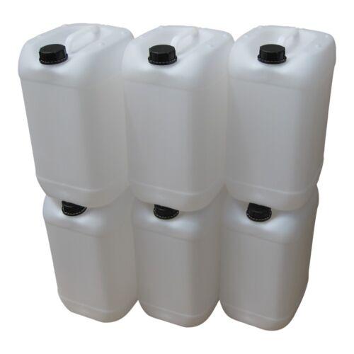 6 x 25 Liter Kanister weiß Wasserkanister Getränkekanister Frischwasser Behälter