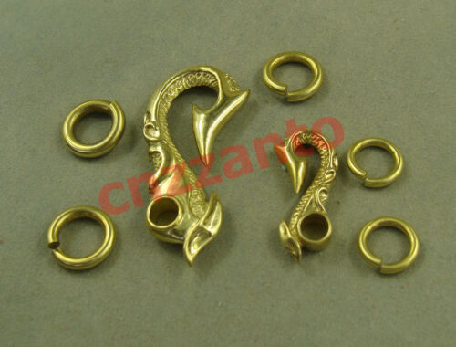 Small size Vintage Fob Brass key chain ring hook wallet clip Set of Big