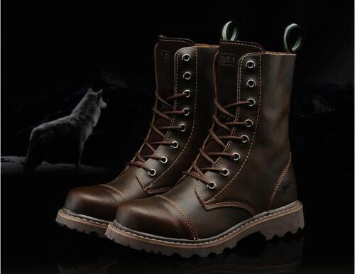 Chic Womens Cow leather desert lace up high top combat ankle boots outdoor shoes