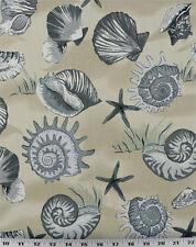 Drapery Upholstery Fabric Indoor/Outdoor Tropical Sea Shells - Beige / Tan