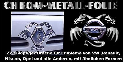 3 D Chrom Auto Emblem Sticker Drachen VW Mercedes Nissan BMW OPEL Renault u. Äl.