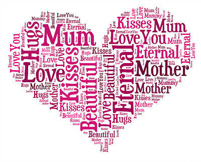 Personalised Love Heart Word Art Print Great Gift, Mothers Day, Birthday
